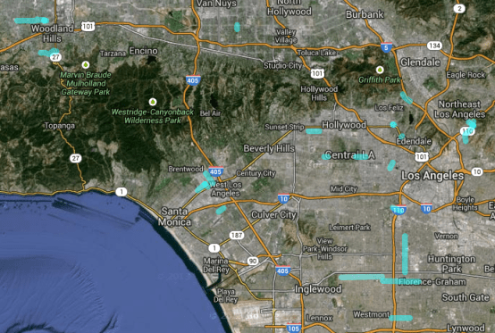 Screenshot of streets where LADOT announced new sharrows for 2013. Click to go to Google Map.