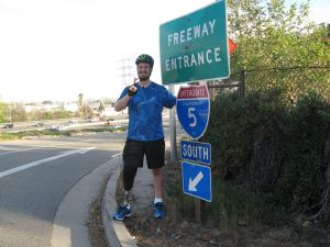 Damian (sic) Kevitt poses during yesterday's commemoration ride.