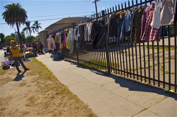 Side streets are often popular sites for impromptu yard sales. Sahra Sulaiman/LA Streetsblog