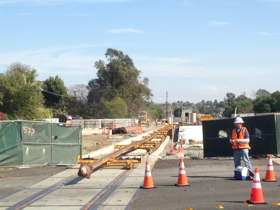 Picture take earlier this afternoon at Exposition and Westwood, looking east at the future Greenway. Pic: Damien Newton