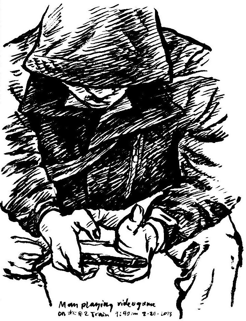 Sketch of man playing a videogame, 2013