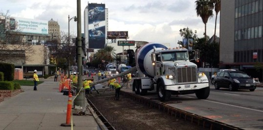 Wilshire peak-hour bus-only lane project under construction last weekend. Photo from project facebook page - see below.