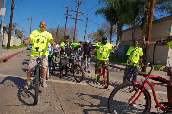 A new form of leadership in Watts. Charles Standokes, Javier Partida, John Jones III, Fredrick Buggs, and Ronnie Parker (on the red bike just out of frame). Sahra Sulaiman/LA Streetsblog