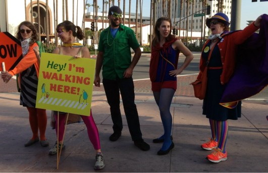 Why did the Superhero walk across the road? To be on the safe side. photo: Joe Linton/LA Streetsblog