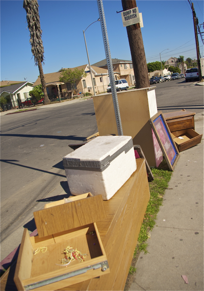 """More dumping under the """"no dumping"""" sign at 6th and Breed. Sahra Sulaiman/LA Streetsblog"""