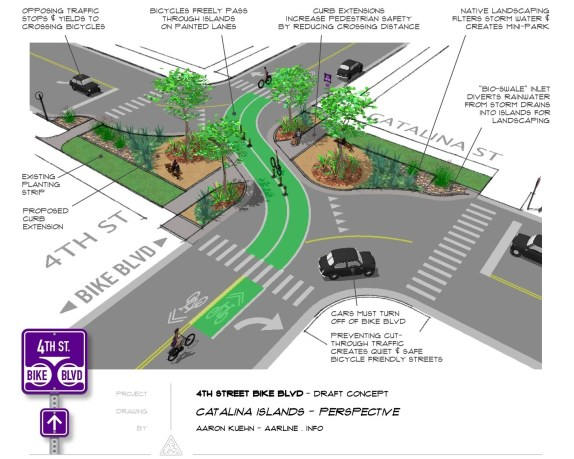 Fourth Street Bicycle Boulevard design concept  for 4th Street at Catalina Street in Koreatown, Los Angeles. Image: Aaron Kuehn