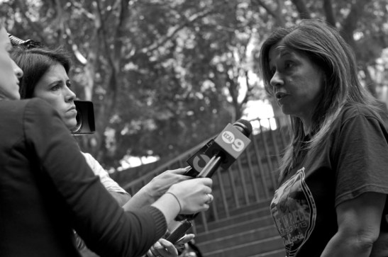 Carmen Tellez, mother of hit-and-run victim, speaks to local news outlets following the sentencing hearing for Wendy Villegas. Sahra Sulaiman/Streetsblog L.A.