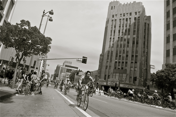 Rides at CicLAvia along Wilshire Blvd. (from last year. I took zero pictures this year). Sahra Sulaiman/LA Streetsblog