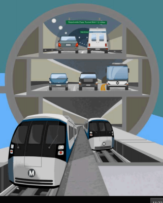 Metro rendering of multi-deck tunnel below Sepulveda Pass. Click for full image and presentation.