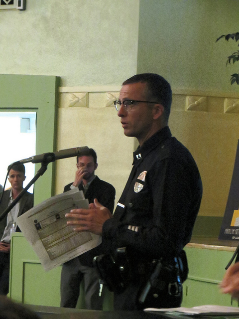 Los Angeles Police Department Captain Jeff Bert testifies against North Figueroa bicycle lanes at Councilmember Cedillo's Bike Lane Community Meeting on May 8, 2014