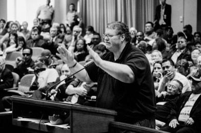 Dana Gabbard testifying before the Metro Board fare restructuring hearing in March 2014. Photo: Metro's The Source