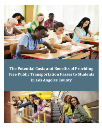Cover of the ECC report The XXX Costs and Benefits of Providing Free Public Transportation Passes to Students in Los Angeles County. Full report posted here, summary sheet here.