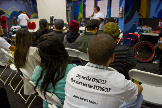 The slogan on students t-shirts is in response to their belief that some in Buscaino's office see them as more trouble than they are worth. Sahra Sulaiman/LA Streetsblog