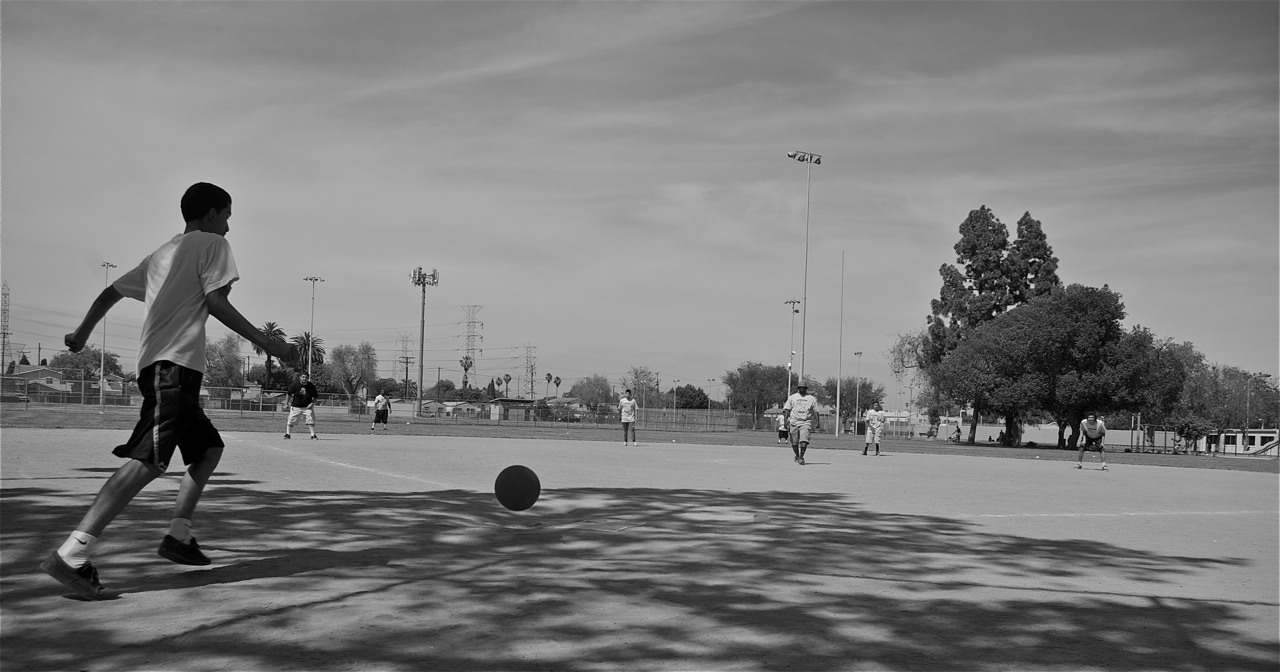 Championship game of the kickball tournament held this past Sat. at Ted Watkins Park in Watts. Sahra Sulaiman/LA Streetsblog