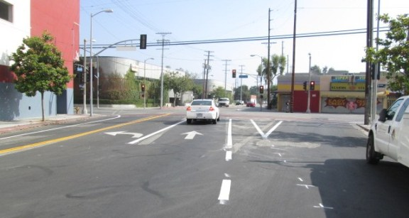 Grand Avenue bike lanes mostly installed. photo: Ryan Johnson