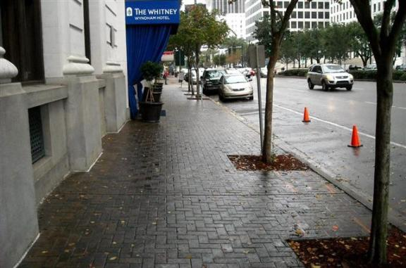 Downtown New Orleans: Another type of pedestrian-friendly sidewalk pavement, combined with trees.