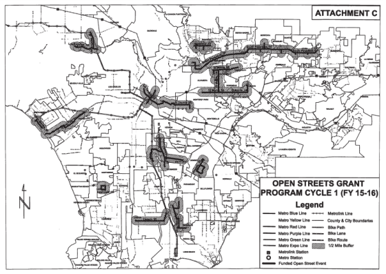 Map of upcoming FY 2015 and 2016 Los Angeles County open streets event. From Metro document
