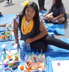 In Pacoima, the workshops were open to anyone attending the Bradley Street Plaza festival...but it was younger attendees that  mostly took part.