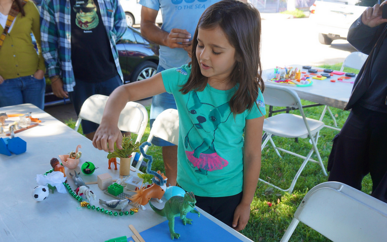Scarlet models her favorite childhood memory, which inspired her complete street view program for North Figueroa.
