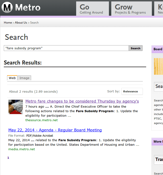 """Searching for the elusive Metro """"Fare Subsidy Program"""" - screenshot from this morning"""