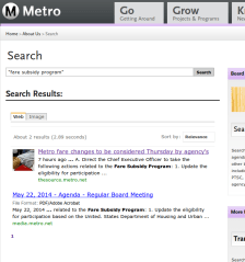 "Searching for the elusive Metro ""Fare Subsidy Program"" - screenshot from this morning"