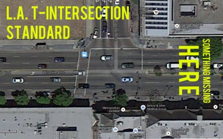 Example of how Los Angeles does only two of three legs of its T-intersections. Image: Google Maps
