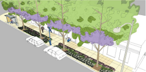 Rendering of West Hollywood's La Brea Avenue Streetscape via city website