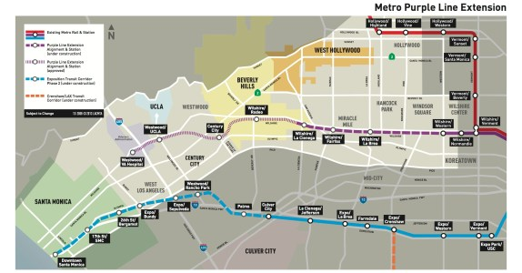 Today's announcement means that Angelenos should be able to ride the Wilshire Subway to La Cienega in 2023. Image: Metro website
