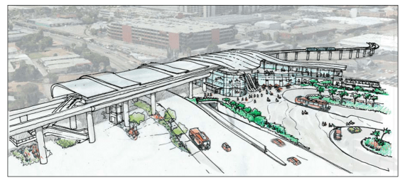 "Concept rendering for new LAX rail station. Green Line and Crenshaw Line light rail  run at grade, below future ""automated people mover."" Image via Metro staff report"