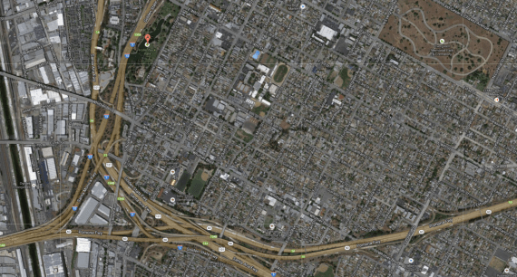 Boyle Heights and its many freeways carving up its western and southern ends, as well as Hollenbeck Park. (Google screen shot)