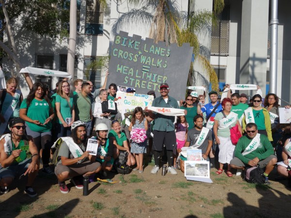 #fig4all supporters decked in green to show their support for the bike lanes