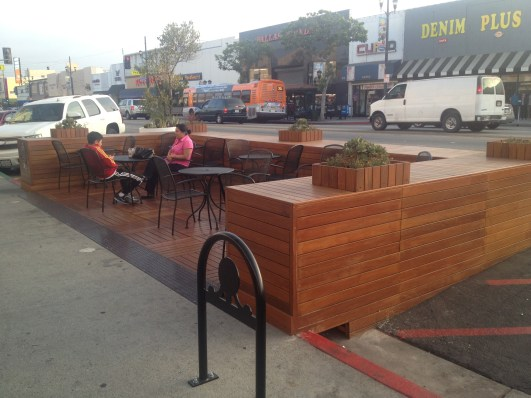 Southern California's newest parklet on Huntington Park's Pacific Boulevard. All photos: Aviv Kleinman/Streetsblog L.A.