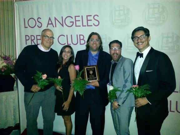 The 2013 Streetsblog L.A. team celebrates our win as best blog at last night's L.A. Press Club Awards Banquet: Joe, Sahra, me, Brian and Kris.  Missing from the picture are Suzy Chavez, Dana Gabbard, Gary Kavanagh and Ted Rogers.