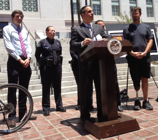 Assemblymember Mike Gatto speaking on the importance of reducing hit-and-run crimes.