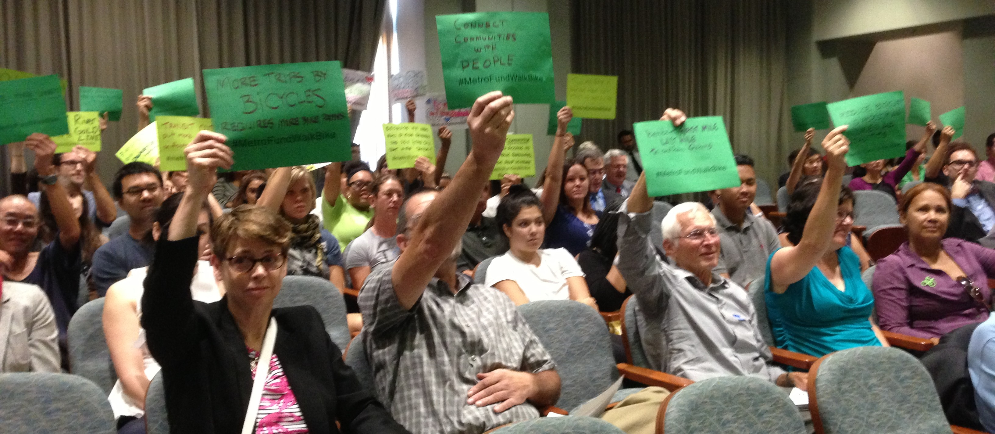 Active transportation supporters at Metro's Planning and Programming Committee on