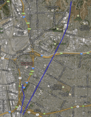 Screen shot of the 2010 Bike Plan's lanes planned for Soto (from Huntington to 8th) and Boyle (from 5th to 8th).