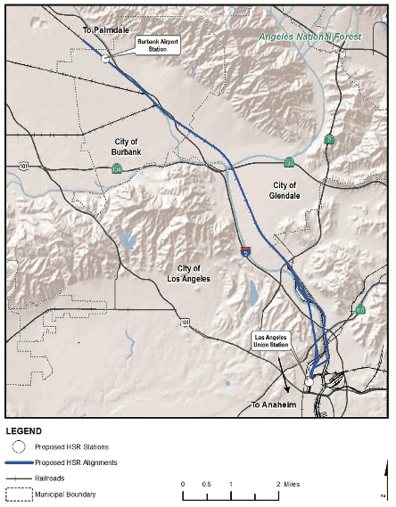 The proposed route between Burbank and Los Angeles is less controversial. Graphic: CAHSR Authority.
