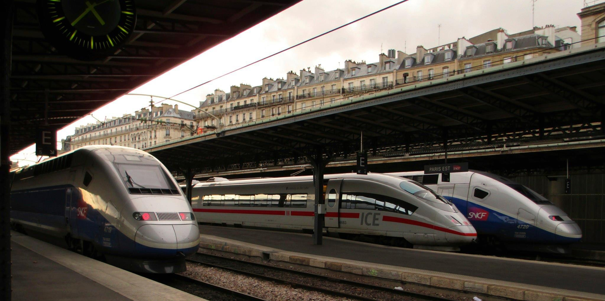 German and Frence high speed trains in Paris. Photo by Ryan Stern