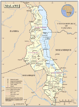 Map of paved roads in Malawi. Source: http://www.asirt.org/portals/0/Reports/Malawi.PDF