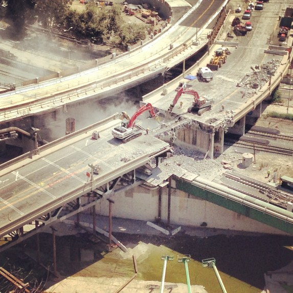 Demolition underway on the Riverside-Figueroa Bridge. Photo: Daveed Kapoor