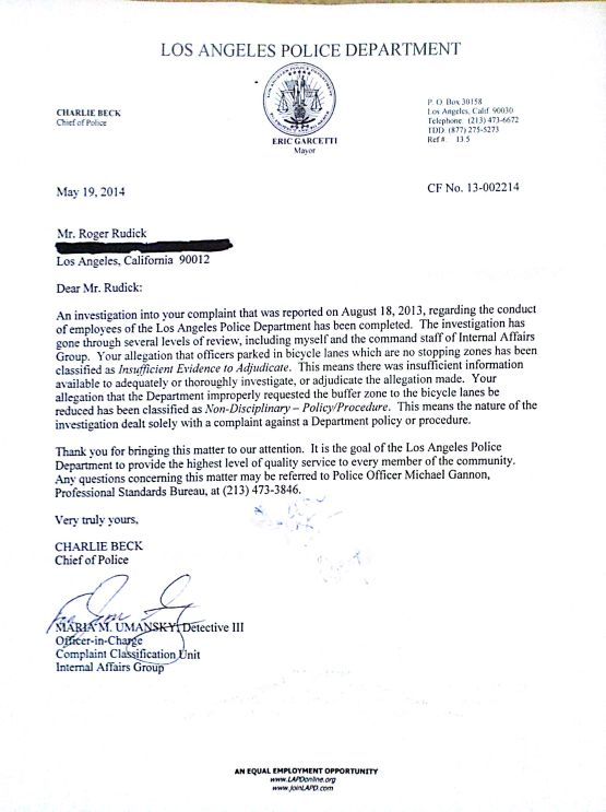 LAPD Beck letter 1 of 2
