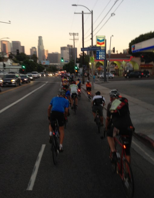 Ride for Milt heading into downtown L.A. via Glendale Boulevard.