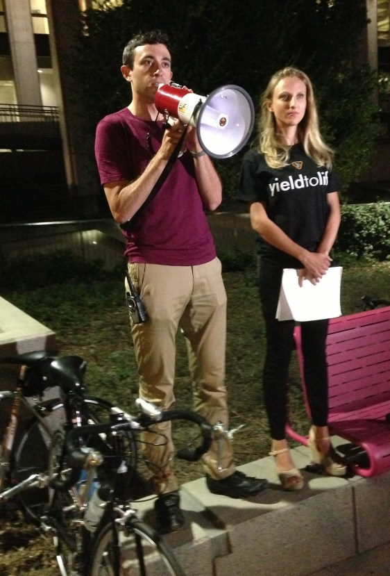 LACBC's Eric Bruins and Yield to Life's Randi Zimmerski as they addressed the assemble vigil for justice for Milton Olin.