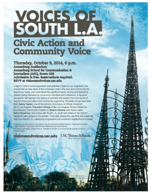 Flier for the October 9th Visions and Voices event at USC focusing on South L.A.