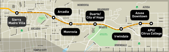 The Foothill Gold Line will extend from Pasadena to Azusa, with six new stations slated to open in September 2015. Image via Metro