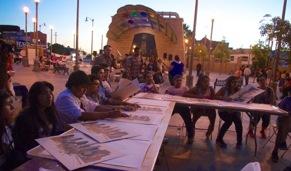 Students from around the area speak about how memories and family define what home on the Eastside means to them at an Activarte workshop led by artist Omar Ramirez. Sahra Sulaiman/Streetsblog LA