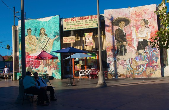 The J&F Ice Cream Shop at Mariachi Plaza. The inside also has a lovely mural depicting some of their family members. Sahra Sulaiman/Streetsblog LA