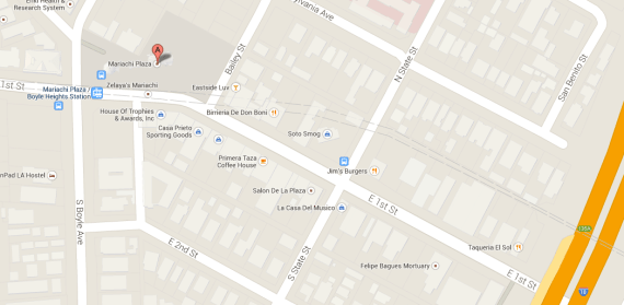 The section of 1st St. between Mariachi Plaza and the 5 freeway. (Google maps)