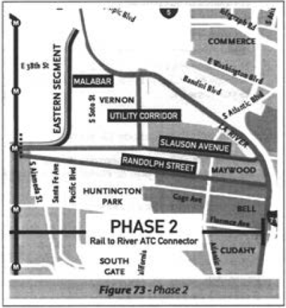 Phase 2: The Eastern Segment and its myriad options for connecting to either an area southeast of downtown or the river. Source: Feasibility Study