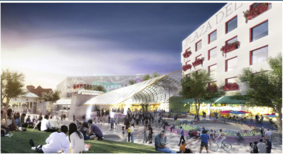Recognize this place? Me, neither. But it's a rendering of the potential future of Mariachi Plaza. (Source: Metro)